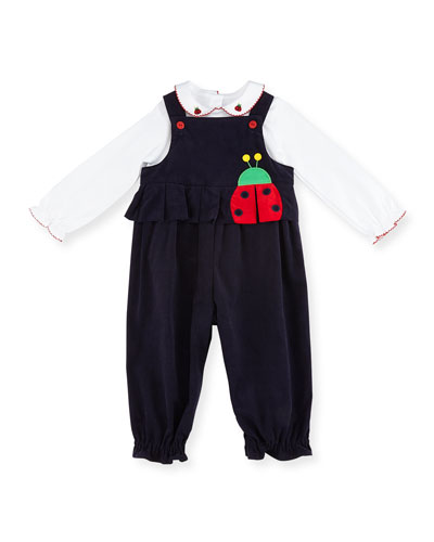 Corduroy Ladybug Overalls w/ Top, Navy/White, Size 12-24 Months