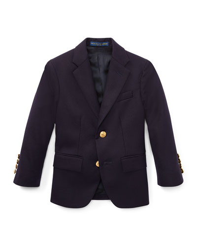Lessona Wool Blazer, Navy, Size 2-4