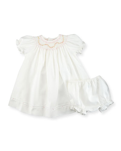 Cap-Sleeve Smocked Bishop Dress w/ Bloomers, Ivory, Size 3-24 Months