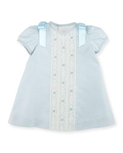 Cap-Sleeve Polka-Dot Twill Dress, Light Blue, Size 3-18 Months