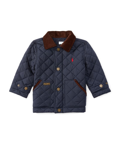 Corduroy-Trim Quilted Jacket, Navy, Size 9-24 Months