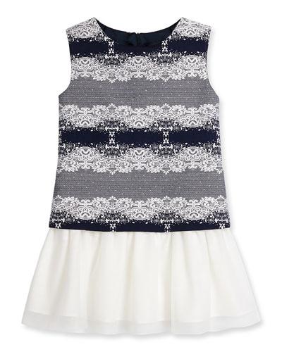 Sleeveless Jacquard & Tulle Shift Dress, Navy, Size 5-8