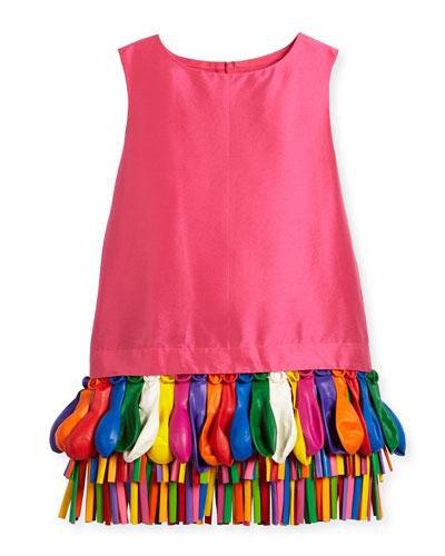 Ida Sleeveless Taffeta Shift Dress w/ Balloons, Fuchsia, Size 5-8