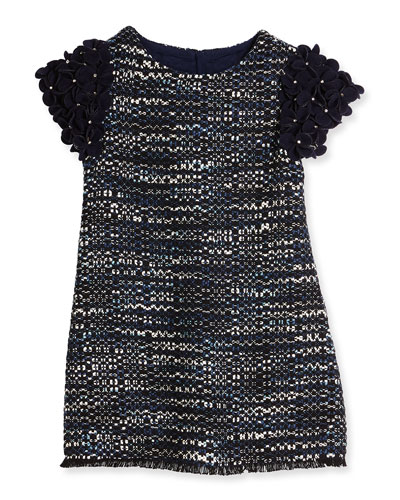 Ida Floral-Trim Tweed Shift Dress, Navy, Size 10-12