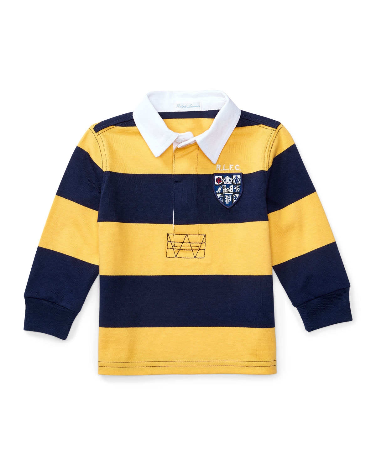 Striped Cotton Rugby Jersey, Gold, Size 9-24 Months
