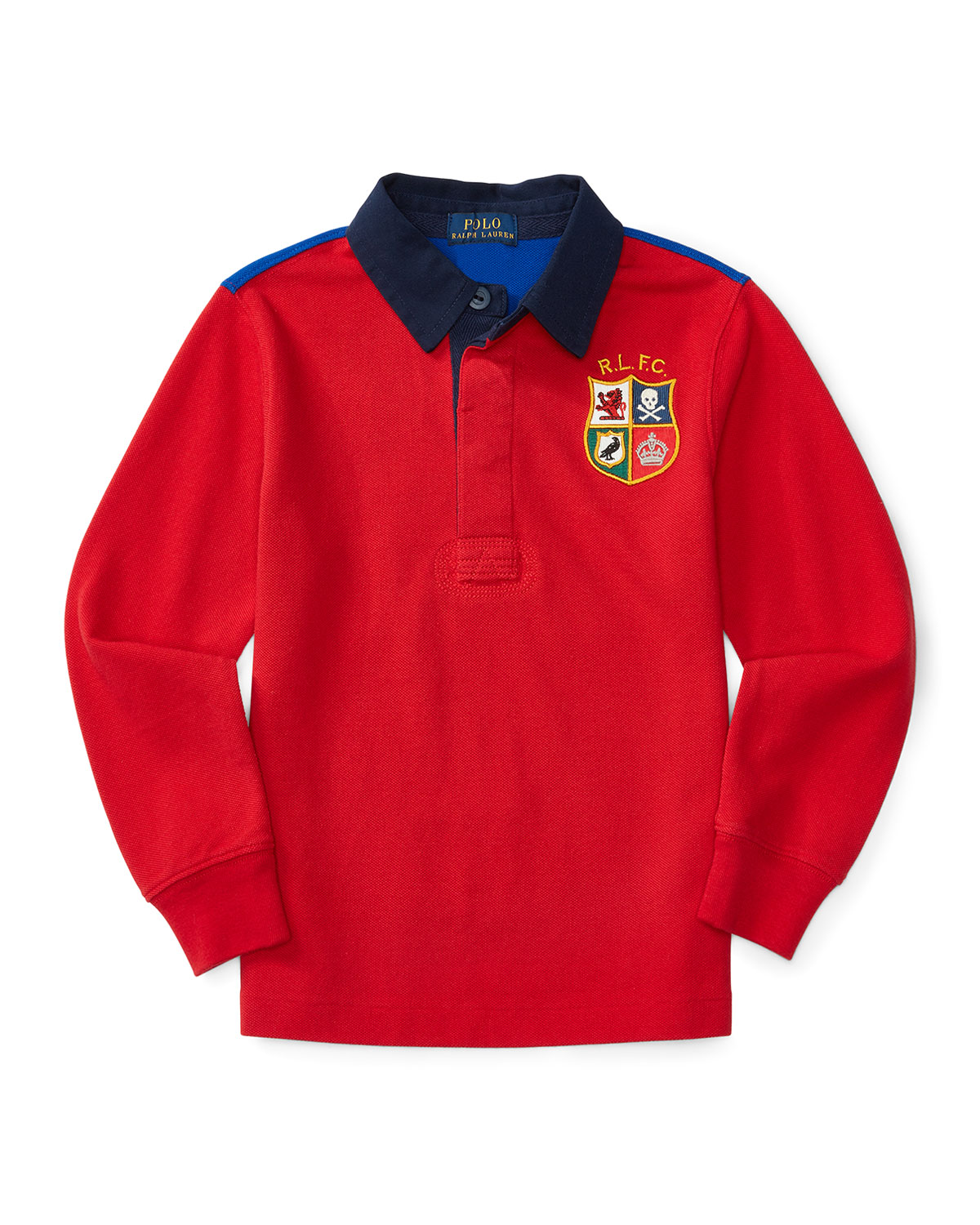 Long-Sleeve Cotton Mesh Two-Tone Rugby Shirt, Red, Size 2-7
