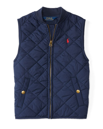 Matte Quilted Baseball Vest, Navy, Size 2-7