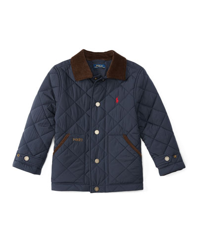 Corduroy-Trim Quilted Jacket, Navy, Size 2-7