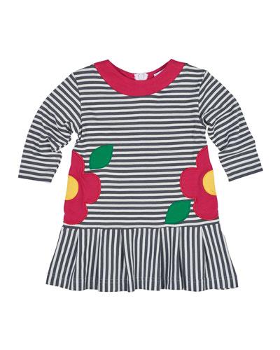 Long-Sleeve Striped Floral-Trim Jersey Dress, Gray/White, Size 2-6X