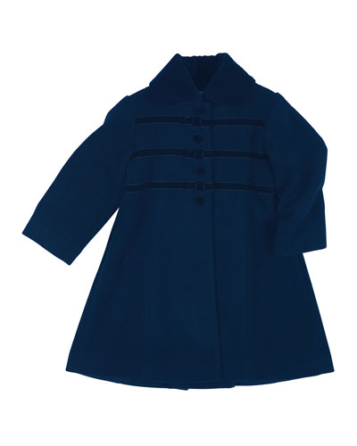 Velvet-Trim Wool-Blend Coat, Navy, Size 2-6X