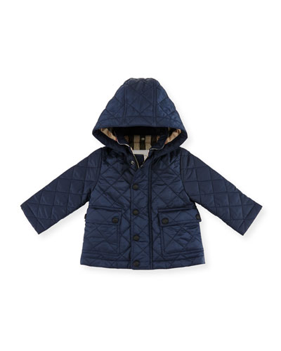 Burberry Jamie Quilted Hooded Jacket, Ink Blue, Size 6m - 3