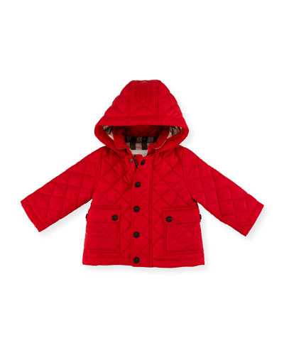 Jamie Quilted Hooded Jacket, Red, Size 6M-3