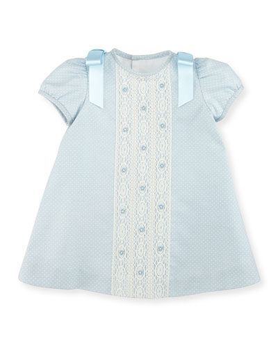 Cap-Sleeve Polka-Dot Twill Dress, Light Blue, Size 2-4