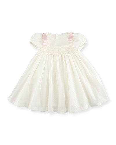Smocked Dotted Tulle Dress, Ivory, Size 2-4