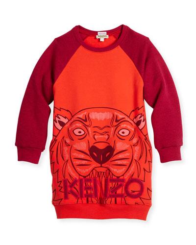 Long-Sleeve Raglan Sweatshirt Dress, Red, Size 4-6
