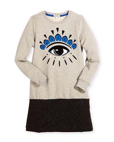 Long-Sleeve Melange Eye Sweat Dress, Gray, Size 4-6