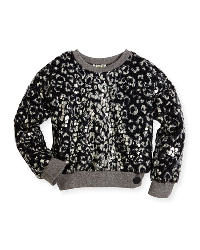 Coated Faux Fur Plush Pullover Sweater, Black, Size 4-6