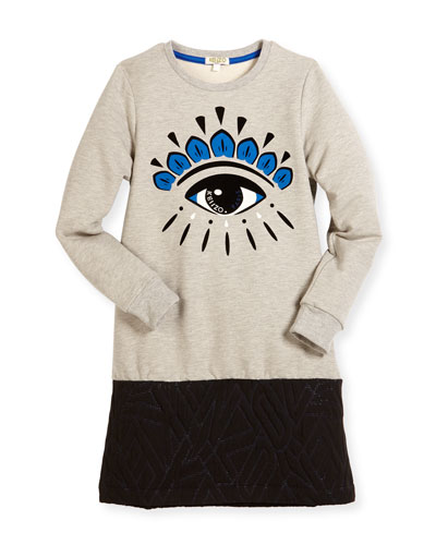 Long-Sleeve Melange Eye Sweat Dress, Gray, Size 8-12