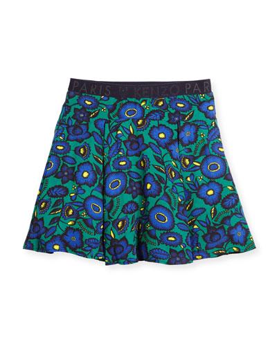 Pleated Floral Poplin Skirt, Green, Size 8-12