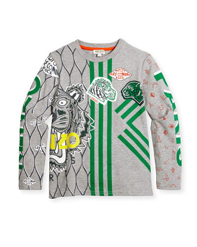 Long-Sleeve Printed Cotton Jersey Tee, Gray, Size 8-12