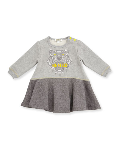 Long-Sleeve Melange Fit-and-Flare Sweat Dress, Gray, Size 6M-3