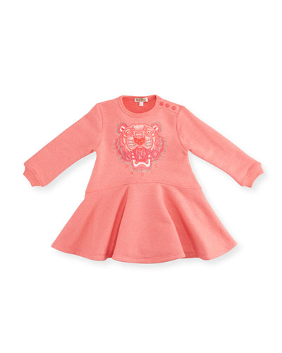 Long-Sleeve Melange Fit-and-Flare Sweat Dress, Pink, Size 6M-3