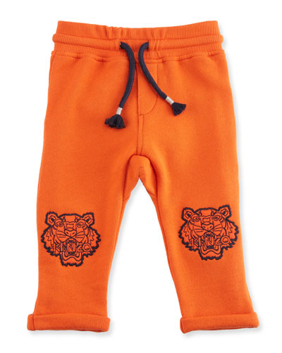 Ribbed Drawstring Sweatpants, Orange, Size 6M-3