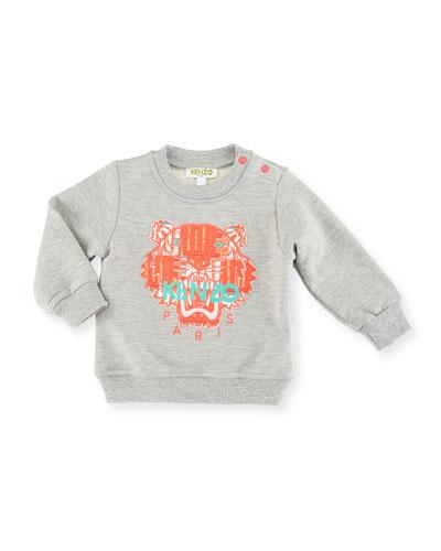 Love Logo Pullover Sweatshirt, Gray/Pink, Size 6M-3