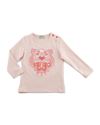 Long-Sleeve Cotton Logo Tee, Pink, Size 6M-3