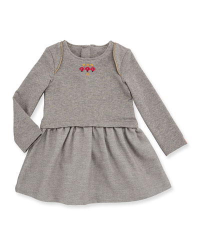 Long-Sleeve Smocked Metallic Jersey Dress, Gray, Size 4