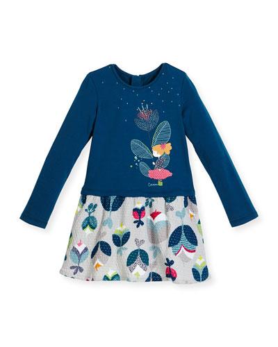 Floral Colorblock Combo Dress, Blue, Size 4