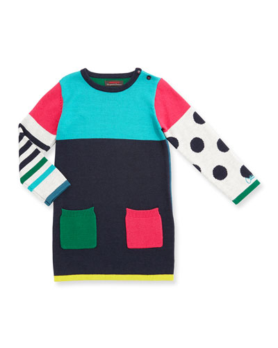 Long-Sleeve Colorblock Pullover Sweaterdress, Blue, Size 4