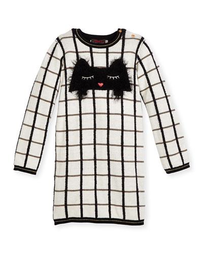 Long-Sleeve Check Sweaterdress, Ivory, Size 4