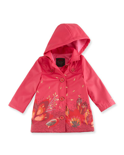 Printed Button-Front Rain Jacket, Fuchsia, Size 4