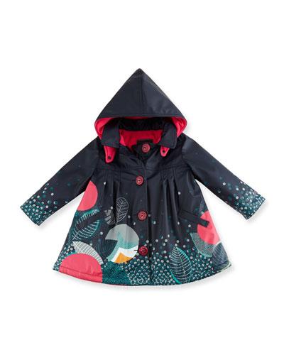 Pleated Printed Raincoat w/ Fleece Lining, Blue, Size 4
