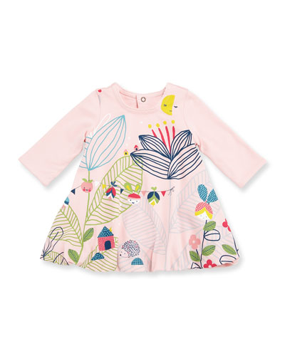 Long-Sleeve Floral Swing Dress, Pink, Size 6M-3