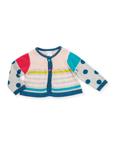 Colorblock Polka-Dot & Striped Sweater, Gray, Size 6M-3
