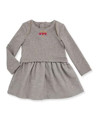 Long-Sleeve Smocked Metallic Jersey Dress, Gray, Size 12M-3