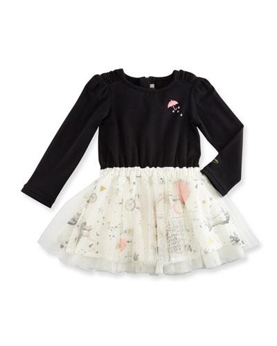 Long-Sleeve Mixed-Media Dress, Black, Size 12M-3