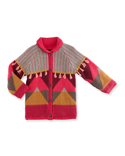 Mixed-Knit Button-Front Jacket, Fuchsia, Size 12M-3