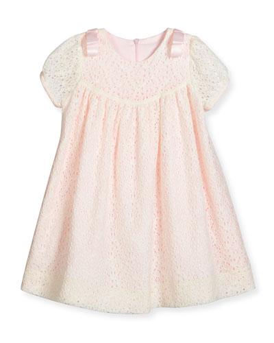 Cap-Sleeve Shirred Lace Swing Dress, Ivory, Size 2-4