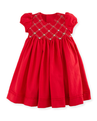 Cap-Sleeve Smocked Twill Dress, Red, Size 2-4