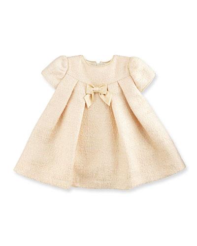 Cap-Sleeve Pleated Metallic Jacquard Dress, Gold, Size 2-4