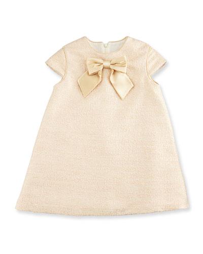 Cap-Sleeve Metallic Tweed Shift Dress, Gold, Size 5-6X