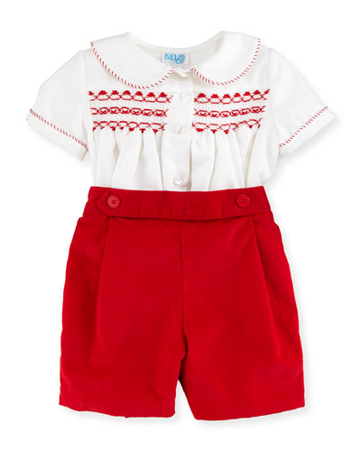 Twill Top w/ Corduroy Shorts, Red, Size 3-24 Months