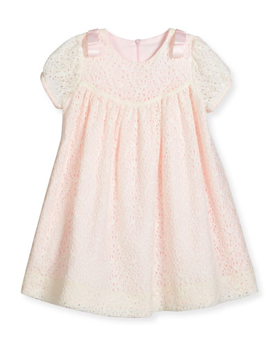 Cap-Sleeve Shirred Lace Swing Dress, Ivory, Size 3-18 Months