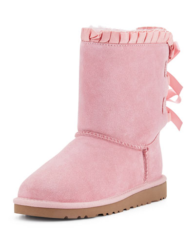 Bailey Ruffle & Bow Suede Boot, Baby Pink, Youth