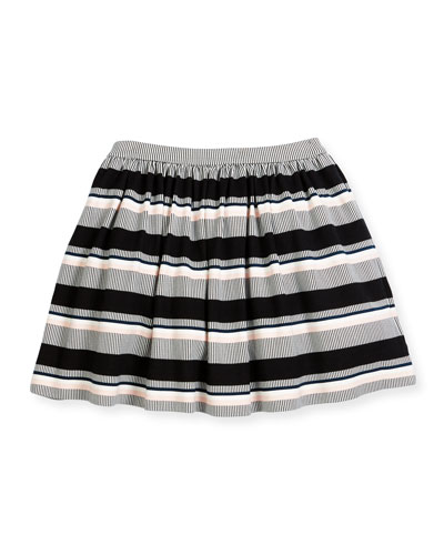 coreen striped ponte skirt, black/white, size 7-14
