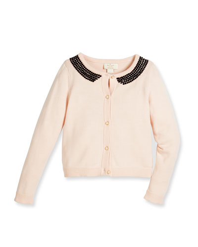 tippy embellished button-front cardigan, pink, size 7-14