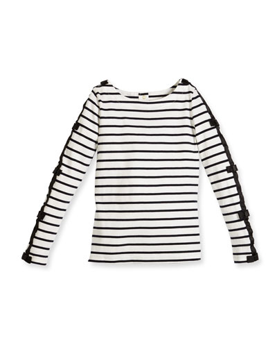long-sleeve striped bow-trim top, navy/white, size 2-6